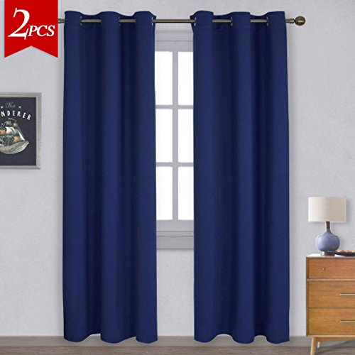 NICETOWN Window Treatment Energy Saving Thermal Insulated Solid Grommet Blackout Curtains /Drapes for Livingroom (1 Pair,42 by 84-Inch,Navy Blue) (Ideas Curtain Blue For Living Room)
