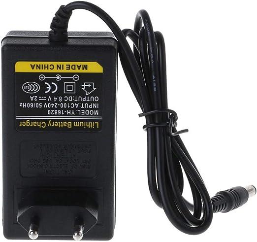 Everpert Adaptateur dalimentation 8,4 V 2 A 18650 Chargeur de Batterie au Lithium DC 5,5 mm Adaptateur Secteur Chargeur UE