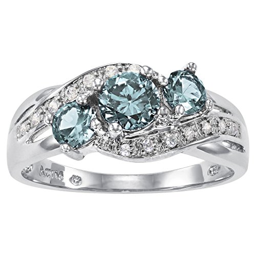 ArtCarved Love You Too Simulated Blue Zircon December Birthstone Ring, Sterling Silver, Size ()