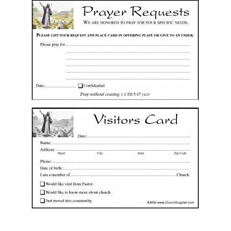 AmazonCom  Church VisitorS Card And Prayer Request Cards