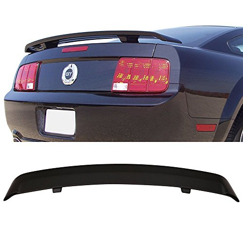 Trunk Spoiler Fits 2005-2009 Ford Mustang | Factory Style Unpainted Black ABS Added On Rear Deck Lip Wing Bodykits by IKON MOTORSPORTS | 2006 2007 2008 ()