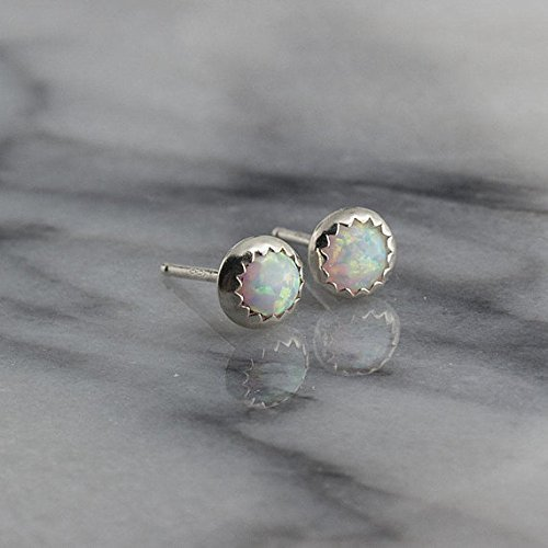 Silver Stud Earrings, Opal Stone Silver Studs 4mm ()