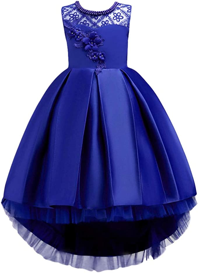 Wedding Flower Girls Dress Princess High Low Gown For Birthday Show Stage Party