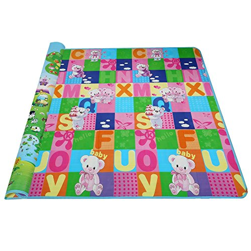 Etuoji Thick Double Sided Toddler Play Mat Kids Foam Non Toxic Playmat Mambobaby with Multi Pattern Shipped from US (Bear and Giraffe)