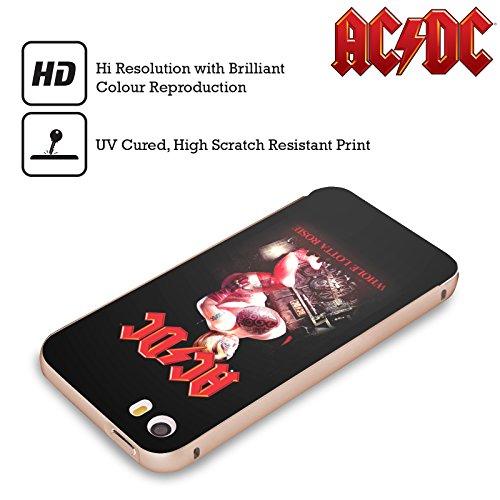 Officiel AC/DC ACDC Tout Lotta Rosie Titres De Chanson Or Étui Coque Aluminium Bumper Slider pour Apple iPhone 5 / 5s / SE
