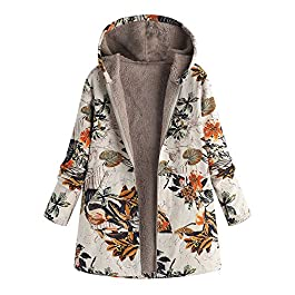 Inverlee Womens Winter Warm Outwear Floral Print Hooded Pockets Vintage Oversize Coats