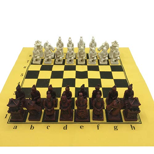 Ireav Retro Chinese Terracotta Chess Game Set Leather Chessboard and Resin Handmade Chess Pieces Family Chess Board Games Portable Travel International Black/White Chess Set for Kids Adults