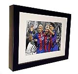 Signed Black Soccer Lional Messi Neymar Jr Luis Suarez Barcelona Autographed Photo Photograph Football Picture Frame Gift