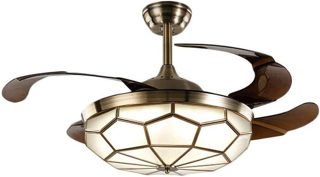 FFLJT Ventilador de techo invisible de luz de la lámpara de cobre restaurante estilo europeo simple Luz Ventilador dormitorio de la lámpara de la sala invisible Ventilador Luz