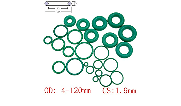 Green Pack of 5 uxcell Fluorine Rubber O-Rings 55mm OD 48mm ID 3.5mm Width FKM Seal Gasket for Machinery Plumbing