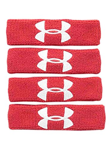 (UNDER ARMOUR 1-Inch Performance Unisex Wristbands, 4-Pack RED)