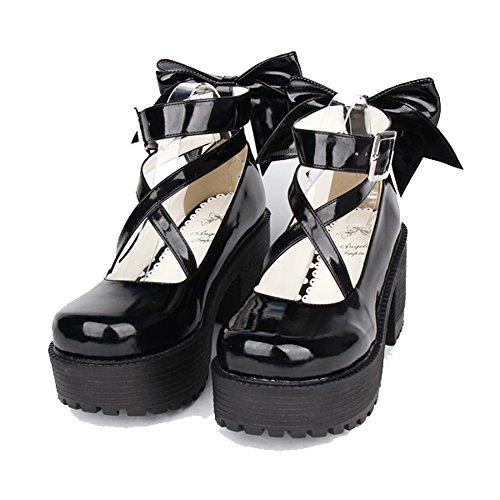 Lolita Shoes - Black 80MM Heel Ankle-High Round-Toe Lolita Cosplay Pump Shoes