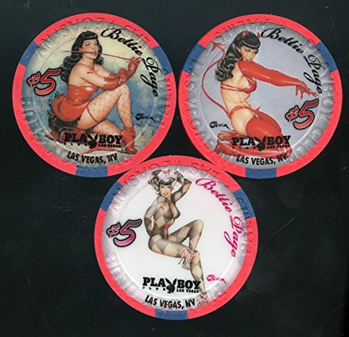 3- $5 Playboy Club at the Palms Casino Bettie Page 3 chip set Playboy Model scarce 3 chip set