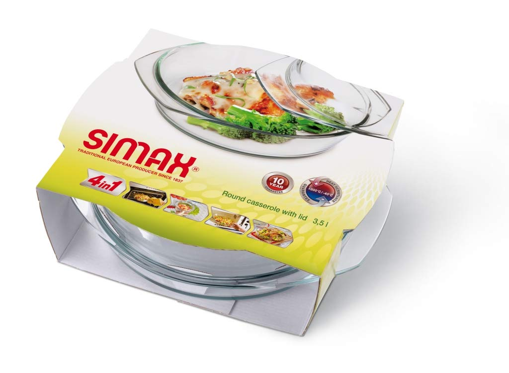 Simax Clear Round Glass Casserole | With Lid, Heat, Cold and Shock Proof, Made in Europe, 3.5 Quart by SIMAX (Image #3)