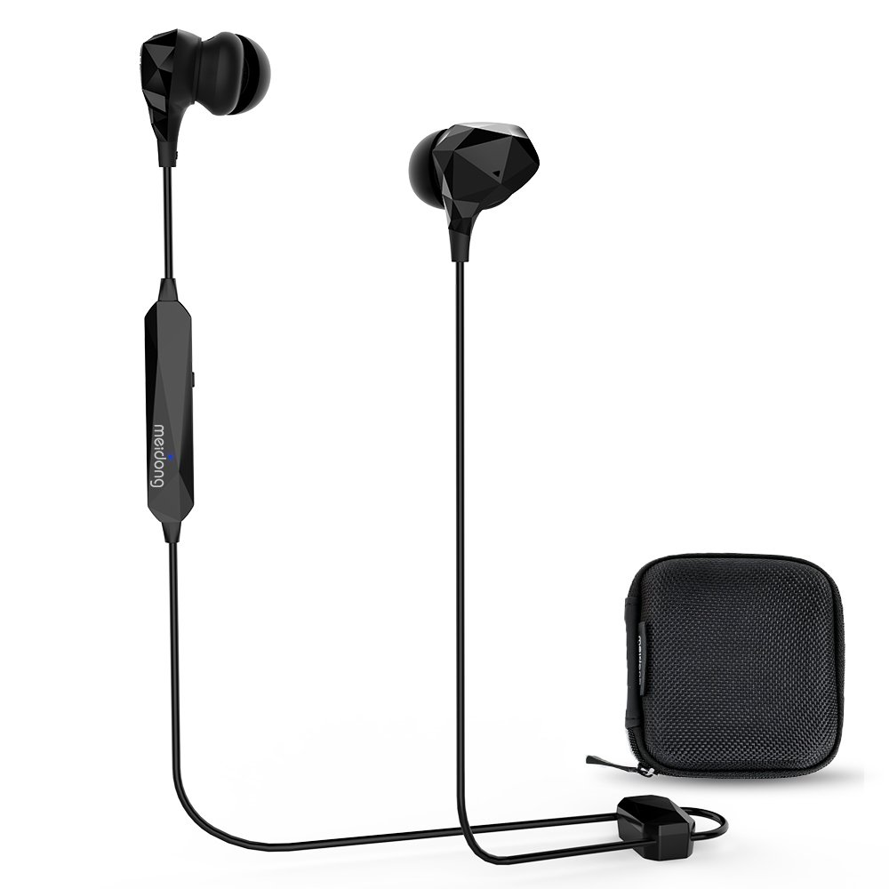 【2019 Update】 Active Noise Cancelling Bluetooth Headphone, Meidong HE8B Wireless Earbuds in-Ear Buds Stereo Sports Earphones with Built-in Mic(ANC/Denoising Mode 15h/OTG Magnetic Charging/Hard Case)