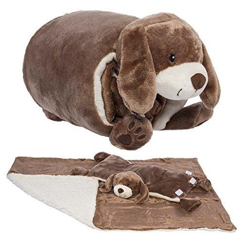 Snuggle Me Sherpa Large Soft Baby Blanket & Plush Pillow Stuffed Animals For Girls, Boys, Baby, Sleeper (Animal Sleeper)