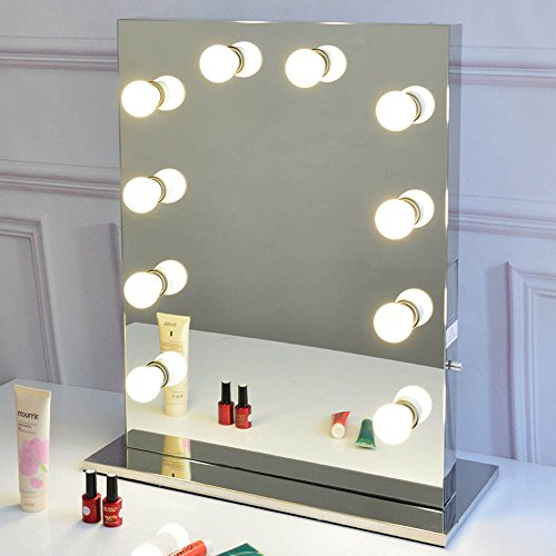 Chende Hollywood Style Vanity Mirror with Dimmable Light Bulbs, Luxury feeling Lighted Makeup Mirror with Stainless Steel Frame, Table top Mirror for (6550) (Smooth Style Mirror)