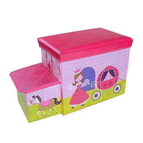 OVI Toys Storage Box Toy Bin Toy Chest Foldable Storage Seat - Princess (Kids Toy Caddy Storage Box)