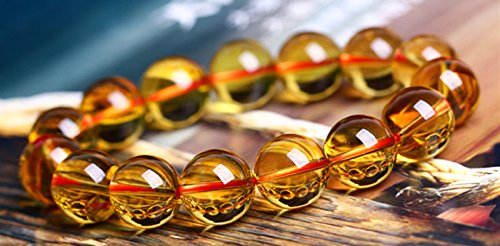 Handmade 10MM Natural Yellow Imperial Topaz Citrine Gems Beads Stretchy Bracelet ()