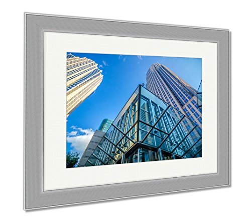 Ashley Framed Prints Tall Highrise Buildings Uptown Charlotte Near Blumenthal, Wall Art Home Decoration, Color, 34x40 (frame size), Silver Frame, - Center Town Charlotte