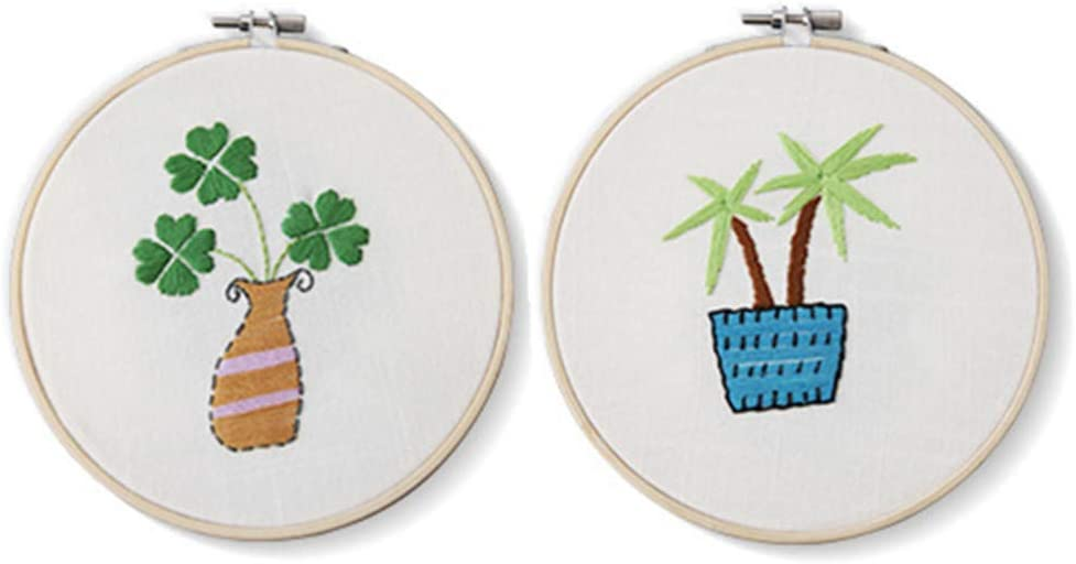 2 Pack Cross Stitch Kits Flowers Palm Cactus Plant Stamped Patterns Craft Supplies for Kids Embroidery Beginner Starter Clover