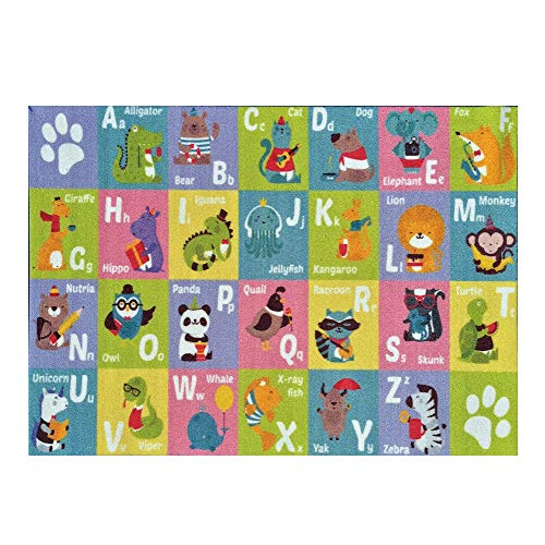 Chinaware Kids ABC Alphabet Animal Play Mat,Educational Learning Area Rug Carpet Playmat for Bedrooms Playroom