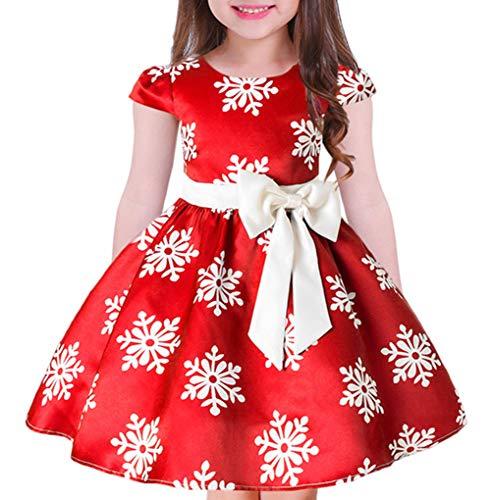 JIANLANPTT Lovely Christmas Snowflake Pattern Pleated Bowknot Princess Dress for Girls Fashion Kid Party Dresses Orange Red -