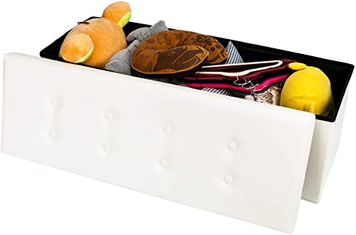 Practical PVC Leather Rectangle Shape with Leather Button Footstool Large Size White