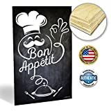 kitchen italian wall art - ZENDORI ART Bon Appetit French Italian Fat Chef Kitchen Wall Plaque Sign - Black Chalkboard-look Decor (Wood Art, 12