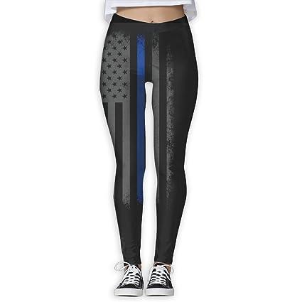 1c851c7bbf6f9 Amazon.com : Womens Yoga Pants Athletic Stretchy Tights Elasticity Leggings  Workout Pants Retro Thin Blue Line Flag : Sports & Outdoors