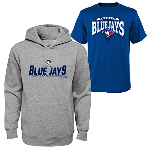 Apparel Blue Jays (OuterStuff MLB Youth Boys 8-65 Toronto Blue Jays Tee & hood Set, Heather Grey, Youth Boys Medium(10-12))