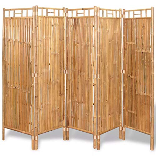 "Festnight 5 Panel Room Divider Bamboo Tall Wide Folding Room Divider Freestanding Room Dividers Partition Room Privacy Screens for Bedroom Living Room Home Furniture Decor 78.7"" x 63"" (W x H) from Festnight"