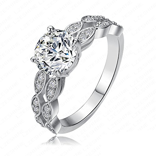 FENDINA Jewelry Womens Vintage 18K White Gold Plated Cubic Zirconia Love Promise Eternity Ring Engagement Wedding Anniversary Band Her
