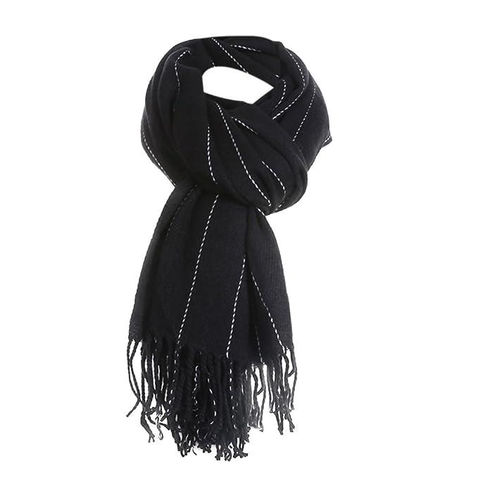 ISHINE-  Chal bufanda de  mujer negro y gris para fiesta.