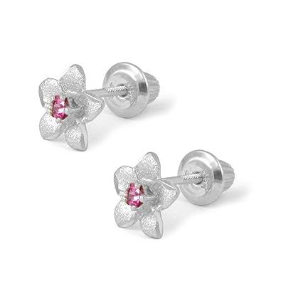 Flower White Sapphire Screw Back Earrings 14k Yellow Or White Gold