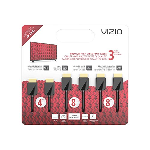 VIZIO TXCHMT-C2K High-Speed HDMI Cable - 3 Pack (4-Feet, 8-Feet & 8-Feet)