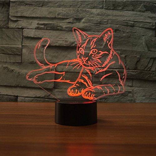 3D Cat Optical Illusion Night Light 7 Color Change USB Touch button LED Desk Table Light Lamp