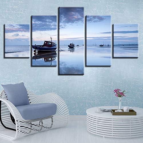 mmwin Cartel de Arte de Pared Lienzo Modular Imágenes 5 Piezas Barco Paisaje de Agua de mar Pinturas HD Decoración Impresa Sala de Estar Moderna: Amazon.es: Hogar