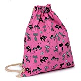 Outsta Canvas Pouch Bag, Fashion Drawstring Hanging Sack Sport Beach Travel Outdoor Backpack Classic Basic Casual Daypack for Travel (Hot Pink)