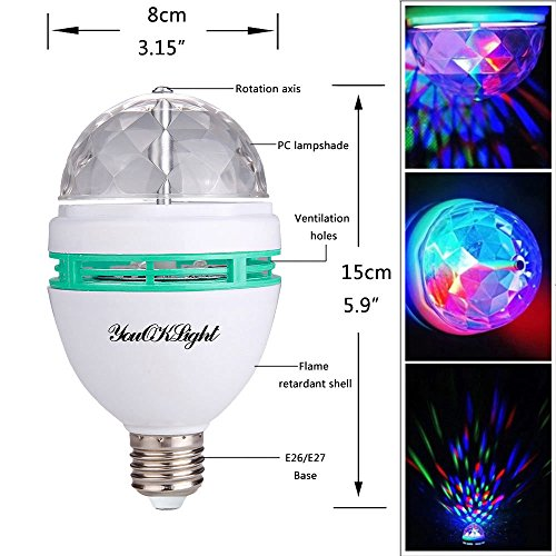 YouOKLight 3-Pack E26 Full Color Rotating Lamp LED Strobe Bulb Multi Crystal Stage Light for Disco Birthday Party Club Bar by YouOKLight (Image #5)