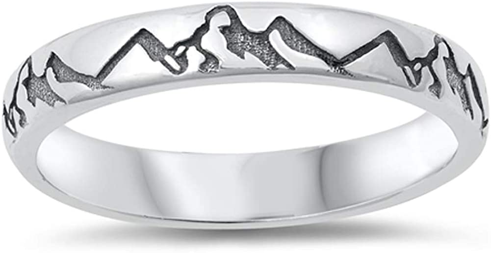 Oxidized Mountain Range Ring New .925 Sterling Silver Band Sizes 4-12