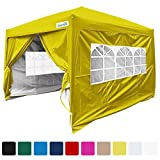 Quictent Silvox 8x8' EZ Pop Up Canopy Tent Instant Canopy With Carry bag 100% Waterproof-7 Colors (Yellow)