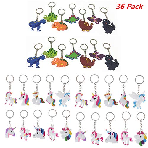 Unicorn Keychain Keyring Jurassic Dinosaur Toys,DavonArt Unicorn Jurassic Dinosaur Birthday Party Favors Supplies for Kids Girls (36 Keychain)