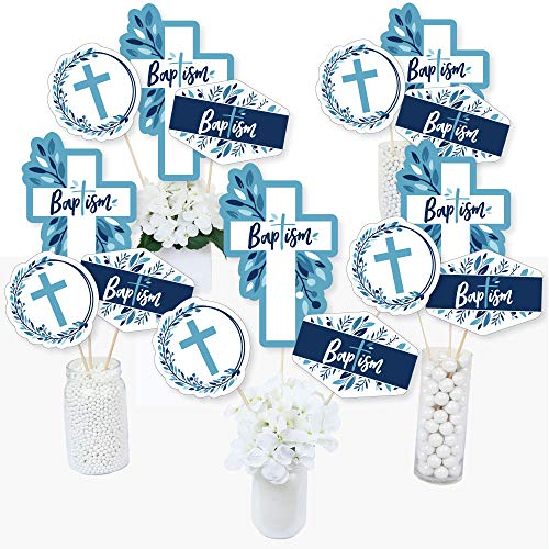 Baptism Blue Elegant Cross - Boy Religious Party Centerpiece Sticks - Table Toppers - Set of 15 -