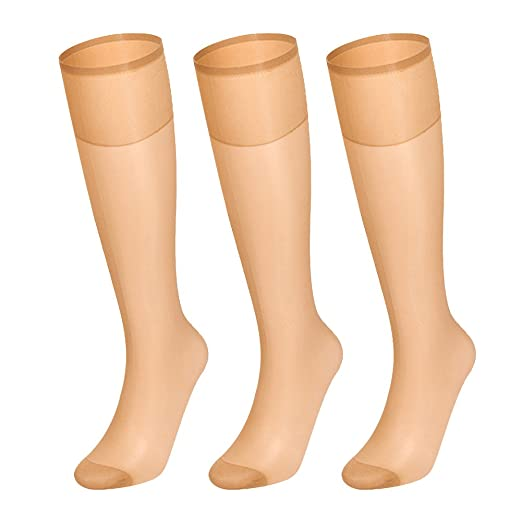 0bf824698ac Women s Silky Sheer Knee High Stockings Panty Hose Reinforced Toe 3 Pack ...