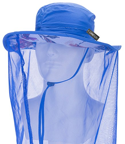 Camo Coll Outdoor Anti-mosquito Mask Hat with Head Net Mesh Face Protection (Blue, One Size)