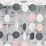 MOWO 26ft Pink Grey Paper Garland Circle Dots Hanging Decoration Baby Shower Wedding Party Table Decoration