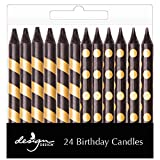 Design Design 756-08961 Stripes Dots Birthday Candles, Black and Gold