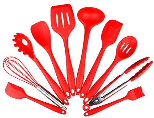 - AMLINKER Silicone Heat Resistant Kitchen Cooking Utensil 10 Piece Cooking Set Non-Stick Kitchen Tools (Red)