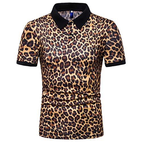 Beautyfine Leopard Print Shirts for Men Fashion Short Sleeve Stripe Large Casual Top Blouse Silm Fit